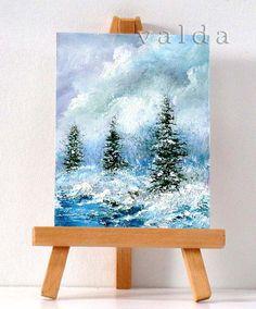 Paisaje de invierno 3 x 4 arte en miniatura por valdasfineart