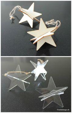 Billige 3D stjerner i træ og akryl