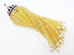 Long Golden Beaded Tassel  Matte Silver Plated by LylaSupplies, $10.00