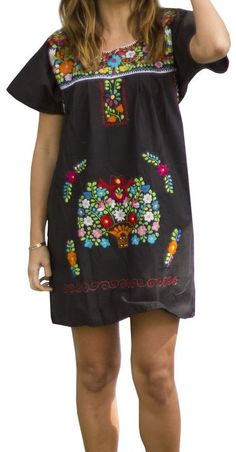 Liliana Cruz Embroidered Mexican Peasant Mini Dress (Black size Small)