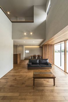 Private residence in Kamo-cho, Kamo-gun. New House Plans, House Rooms, Minimalism, New Homes, House Design, Living Room, Interior Design, Architecture, Table