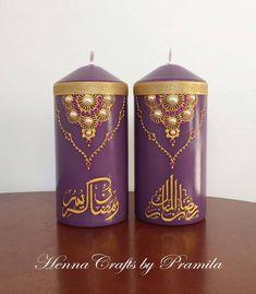 Islamic candles gifts Ramadan Crafts, Ramadan Decorations, Decoraciones Ramadan, Henna Candles, Paper Rosettes, Candle Art, Paper Fans, Islamic Gifts, Glitter Cards
