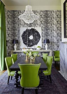 Excellent black and white dining room with lime green chiars, black and white printed wallpaper, crystal chandelier, lime green, spring green, apple green, bright green, pantone greenery The pos ..