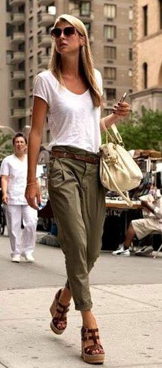 summer outfits  White Tee   Khaki Pants