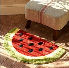 Non Slip Water Absorbing Watermelon Half Round Shaped Bath Rug Carpet