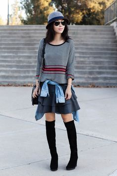rag & bone 'Dawn' Stripe Wool Blend Pullover, J.Crew KEEPER CHAMBRAY SHIRT, J.Crew Flounce skirt in bonded wool, Stuart Weitzman Demiswoon Over-the-Knee Wedge Boot, Chanel Boy Bag, Clare Vivier leopard clutch, Ray Ban original aviator, casual chic, off duty style, fall style, Grace Hats
