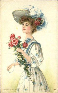 pretty Postcards | Pretty Woman Hat Roses c1910 Postcard | 1910