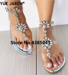 4a4ff1ab3 YUE JABON 2018 shoes woman sandals women Rhinestones Chains Flat Sandals  Thong Crystal Flip Flops sandals gladiator sandals 43
