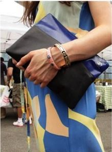 Ethical and eco-friendly street style: Traveler's clutch by Fleabags is made in New York using sustainable materials.