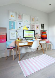 Geraldine's pastel pattered office space. The Stroller Desk takes center stage surrounded by pretty framed quote prints