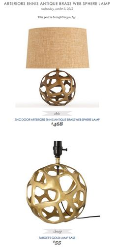 COPY CAT CHIC FIND: Arteriors Ennis Antique Brass Web Sphere Lamp VS Target's Gold Lamp Base