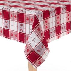 Valentine's Day Heart Tablecloth Tartan Jacquard Red & White With Sparkle