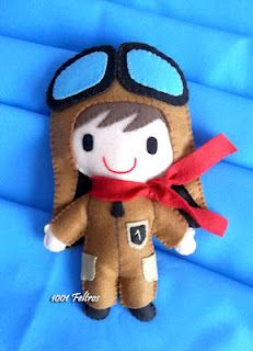 Pilot Doll #felt #sewing #cute #red #scarf #goggles