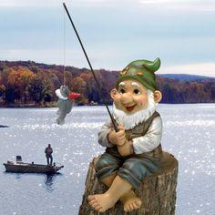 Ziggy the Fishing Gnome Garden Sitter Statue