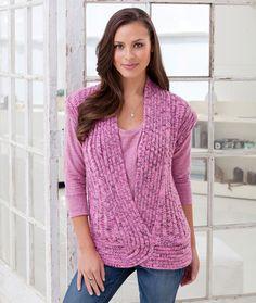 Rib and Twist Vest Knitting Pattern | Red Heart