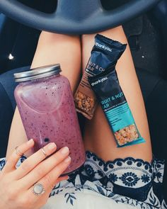 """""""Breakfast - blueberry smoothie (best texture: 4 frozen bananas, frozen blueberries and a LOT of coconut water)"""""""