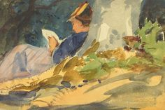 Woman Reading a Book in Nature Art Print | iCanvas