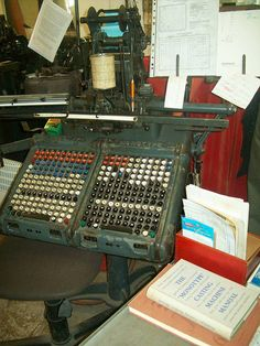 Monotype keyboard by nickgraphic, via Flickr monotype first for lead type casting was improved for filmtype setting