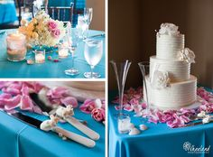 turquoise pink wedding reception http://wheelandphotography.com