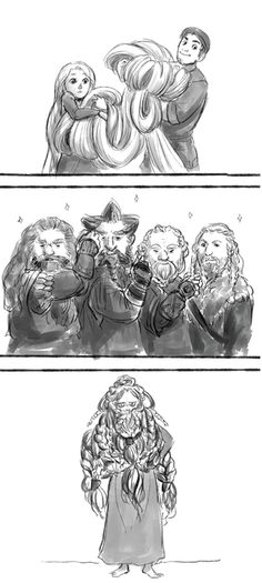 [This is hilarious. Dwarves must be great at doing hair, come to think of it.] They'd have a blast doing her hair.