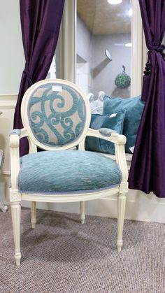 French Louis Armchair White Teal Floral Shabby Chic Antique Style Bedroom in Home, Furniture & DIY, Furniture, Chairs | eBay