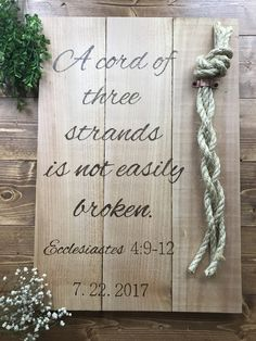 "Looking for something special to add to your wedding decor or ceremony? Looking for that special anniversary gift? This may just be what you're looking for! ""A chord of three strands is not easily broken"" Ecclesiastes 4: 9-12 sign measures approximately 18"" x 24"" and comes with rope attached by a copper plated clamp Shipping: Products are made to order and ship within 1-2 weeks of purchase date. *Please note wedding date in comments when checking out, and specify word or numeral text * Just…"