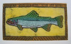 Brook Trout on Gold 10 Collagraph of Game Fish by bonniemurrayart, $32.00