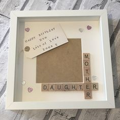Mummy Daughter Frame, Mother Daughter, Mother's Day Present, Birthday Gift, Personalised Scrabble Frame for Mum for any occasion Diy Birthday Gifts For Mom, Diy Gifts For Mothers, Personalized Birthday Gifts, Mothers Day Presents, Mothers Day Crafts, Mother Day Gifts, Mothers Day Ideas, Gift For Mother, Mother Daughter Crafts