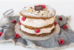 Fiaba di lamponi: almond semifreddo covered with cocoa sponge cake sweetened with raspberries organic jam. Fresh Cream, Sponge Cake, Raspberries, Pastries, Cocoa, Almond, Organic, Simple, Ethnic Recipes