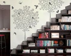 Definitely love the Staircase Bookshelf - and the wall stencils would be over the top in i conservative room, but it works in a creative space