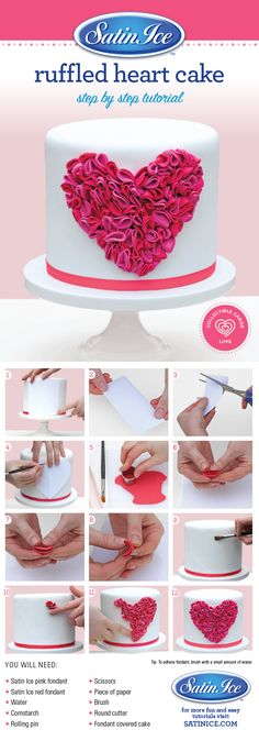 DIY cute and romantic fondant ruffled heart cake to make for that special someone for Valentine's Day! Shop now to DIY https://satinice.shop/pages/fondant