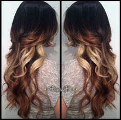 {Tri Colored Hair Ombre with Long layers}