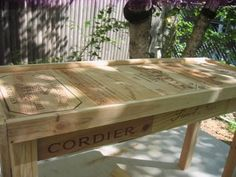 wine crate table  http://selfsufficienturbanite.blogspot.com/2008/08/making-table-out-of-wine-crates.html