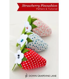 Free pattern:  Strawberry pincushion Have to make a natch of these sweet pincushions!