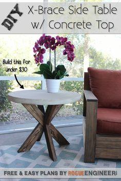 DIY X-Brace Concrete Side Table Plans | rogueengineer.com #DIYsidetable #livingroomDIYplans