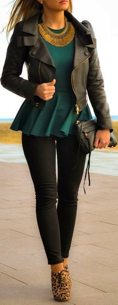 Adorable black leather jacket, green dress with golden necklace and skinnies