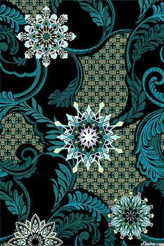 Star of Hope - Garden Snowflake - Jet -- I want one entire side of my quilt made with this, stitched around the design. Batik Pattern, Pattern Art, Pattern Design, Textile Prints, Textile Patterns, Textile Design, Motifs Art Nouveau, Motif Floral, Pretty Patterns