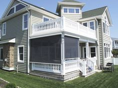 Solar shades fabricated for this open porch using screen fabric allows visibility and light, while providing shade and shelter from the wind. Porch Enclosures, Galley Kitchen Remodel, Solar Shades, Apartment Design, Exterior, House Styles, Outdoor Decor, Budget, Home