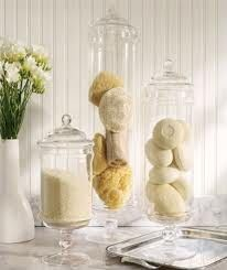 Apothecary jar bath decor with soaps, bath salts, sponges Glass Apothecary Jars, Glass Jars, Glass Containers, Glass Canisters, Glass Domes, Bathroom Containers, Apothecary Decor, Do It Yourself Decoration, Jar Fillers