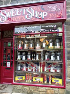 I love the font and placement style for this shop sign.  Haworth Sweet Shop, West Yorkshire