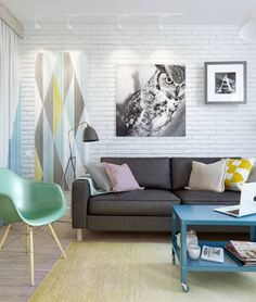 modern interior design with bright decoration patterns and color accents