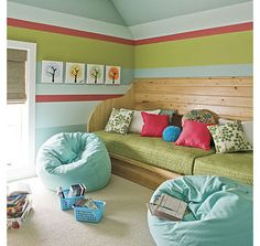 4 color horizontal stripe accent wall