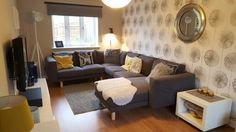Norsborg sofa ikea, grey yellow living room