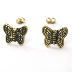 $4 Small Butterfly Animal Textured Wings Stud Earrings in Bronze