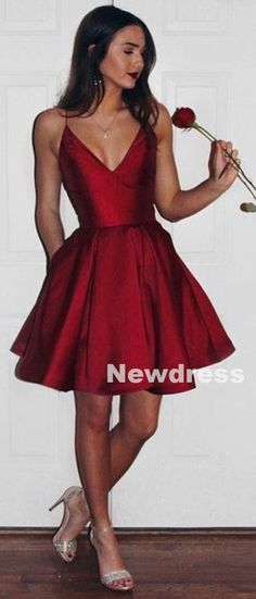 Short homecoming dresses, simple cheap homecoming dresses, spaghetti strap homecoming dress, burgundy homecoming dress, graduation dress, NDS436 · Newdress · Online Store Powered by Storenvy