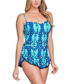 c88b6e2f94 Mazu Swimwear Navy   Turquoise Ikat Shirred Swimdress - Women