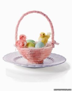 Step 4: Fuzzy Chicks in Pipe-Cleaner Baskets - Fuzzy Chicks in Pipe-Cleaner Baskets Nestled in chenille pipe cleaner baskets, these handmade fuzzy chicks make an adorable statement for Easter. You can hang the baskets from branches, or place them at the top or base of your tree.
