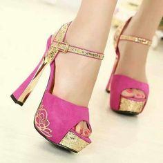 Pink + gold sandals