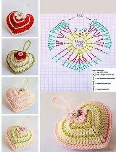Anabelia Handmade: Valentine's Day crochet heart with chart. Corazones a crochet Crochet Chart, Love Crochet, Crochet Gifts, Crochet Motif, Crochet Flowers, Crochet Patterns, Beautiful Crochet, Appliques Au Crochet, Crochet Decoration