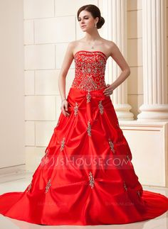 Ball-Gown Sweetheart Chapel Train Embroidered Ruffle Beading Sequins Zipper Up Strapless Sleeveless Church General Plus No Winter Red Satin Wedding Dress